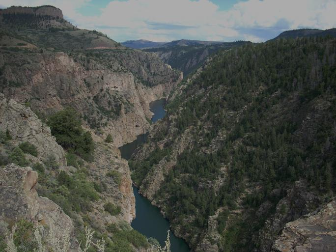 Lookiing west down The Black Canyon of the Gunnison from Blue Mesa Point